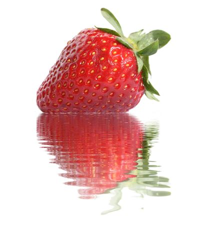 Strawberries on white background. Reflection in water. photo