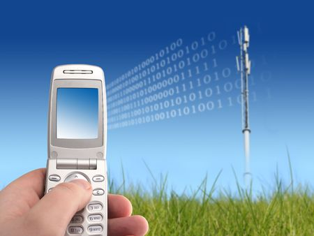 cell phone tower: Communication Stock Photo