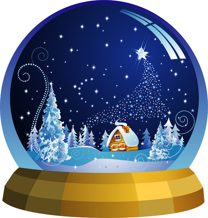 sphere base: Vector snow globe with a Santa house within Illustration