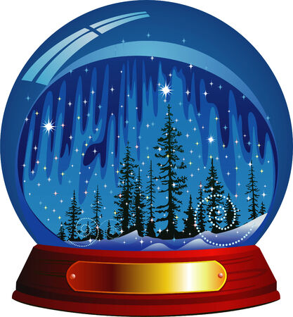 within: Vector snow globe with snow forest within