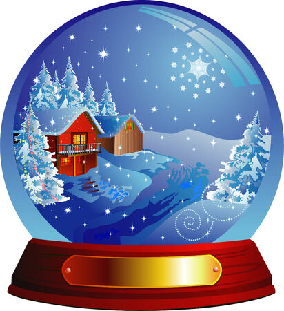 reflexion: Vector snow globe with a Santa house within Illustration