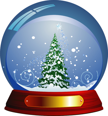 within: Vector snow globe with a christmas tree within