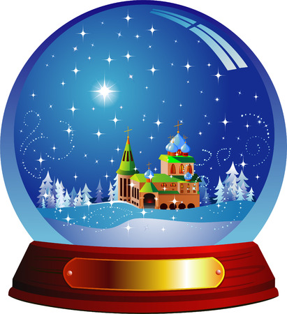 christal: Vector snow globe with a Santa house within Illustration