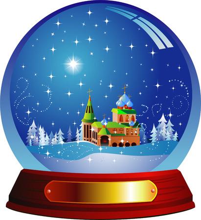 Vector snow globe with a Santa house within Stock Vector - 3834950