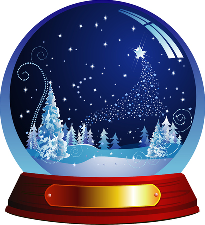 Vector snow globe with snow forest within Vector