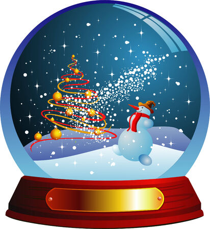 christmas snow: Vector snow globe with a christmas tree and snowman within