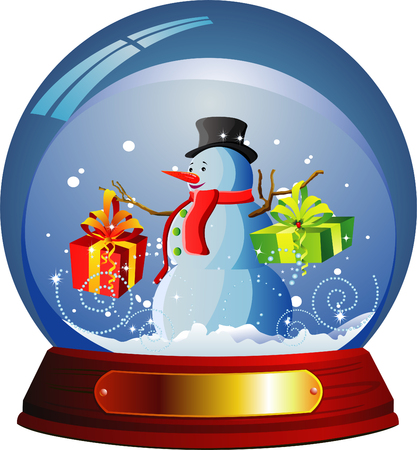 snowman isolated: Vector snow globe with a snowman within