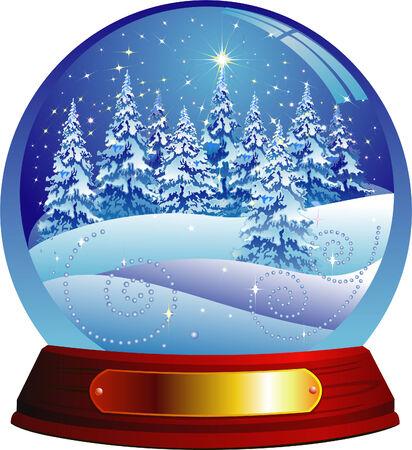 snow globe: Magic forest. Vector illustration