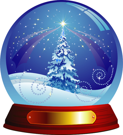 christmas snow: Vector snow globe with a christmas tree within