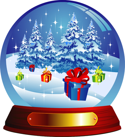 Vector snow globe with christmas tree and presents Vector