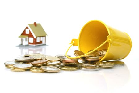 Invest in real estate concept. Isolated on white background. Banque d'images