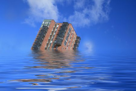 foundation problems: sinking building. Housing problem concept. Stock Photo