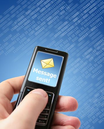Message sent concept. Mobile phone in hand. Stock Photo - 4797569