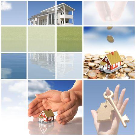 housing estates: Collage. Investire nel settore immobiliare concetto. Archivio Fotografico