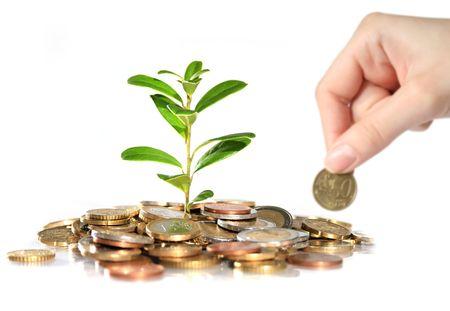 Geld-und Anlagenbau. Hand-Euro-Münze. Standard-Bild - 4874826