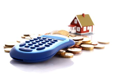Buy new house concept. Little house and money. Stock Photo - 4926410