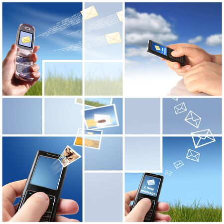 Collage. Communication concept. Mobile phone in hand over sky. photo