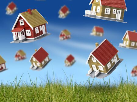 housing lot: Lot of houses falling from sky. Blue sky and green grass on the background.