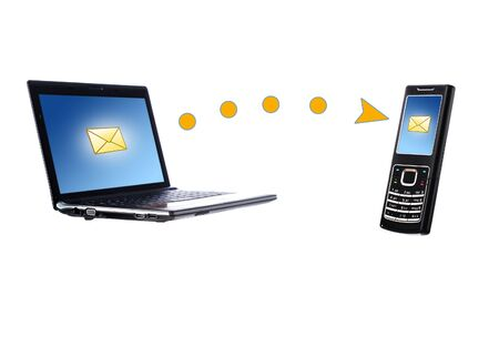 Laptop and mobile phone. Communication conceptual image. photo