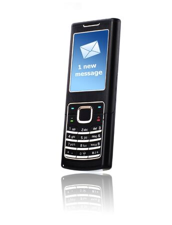 new message: Mobile phone. New message received. Over white.