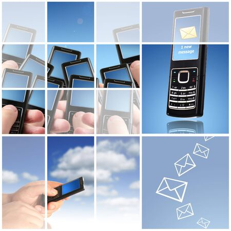 mobile accessories: Collage.Communication concept.