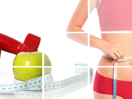 Collage.Fitness concept.Beautiful body,dumbbells and apple.  Stock Photo - 6793008