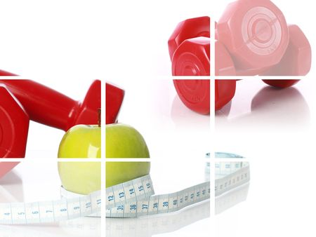 Fitness collage.Green apple with measuring tape and dumbbells. photo