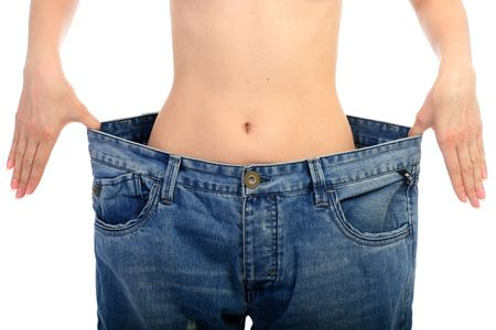 Weight loss concept. Beautiful woman belly over white. Stock Photo - 7100267