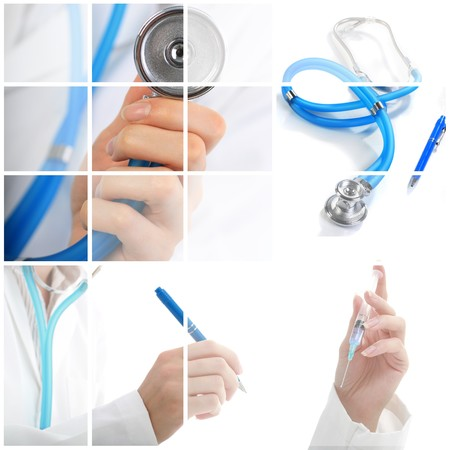professions: Collage. Medical concept over white background.