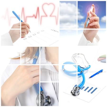 uniforme medico: Collage. Concepto m�dico sobre fondo blanco.