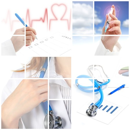 doctors tools: Collage. Medical concept over white background.