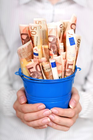 Euro money in womans hands. Financial concept. photo