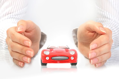 business loans: Car insurance concept. Isolated over white background.
