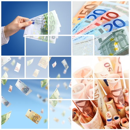 Money collage. Financial concept of successful investment. Stock Photo - 8601046