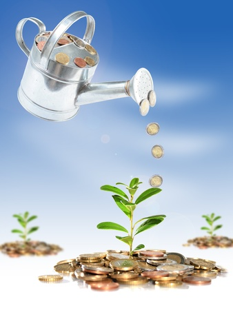 Financial concept of successful investment. Business collage. photo
