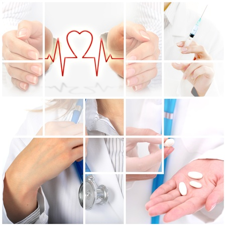 health insurance: Medical collage. Health insurance conceptual image. Stock Photo