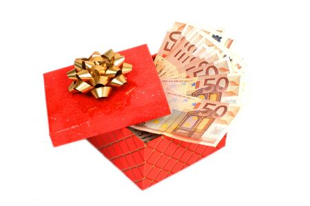 Euro money in gift box isolated over white. photo