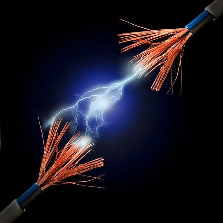 Wire and electric discharge over black background.