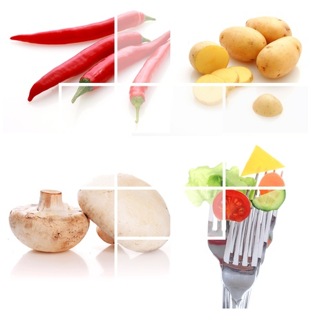 Collage. Vegetables over white background. photo