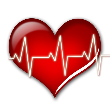 cardiac care: Health care concept. Heart isolated over white.