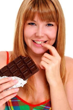 Chocolate girl. Beautiful girl with block of chocolate. Stock Photo - 8872093