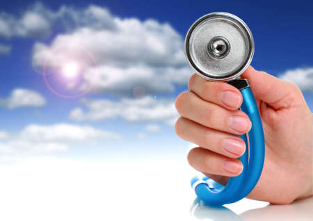 Health care concept. Stethoscope in female hand. Stock Photo - 9019468