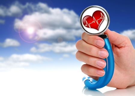 Health care concept. Stethoscope in female hand. Stock Photo - 9019464