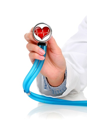 health care concept: Health care concept. Stethoscope in female hand.
