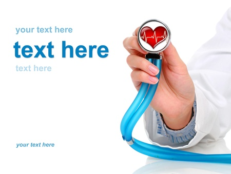 Health care concept. Stethoscope in female hand. photo