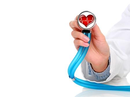 Concept de la santé. Stéthoscope à main féminine. Banque d'images - 9019450