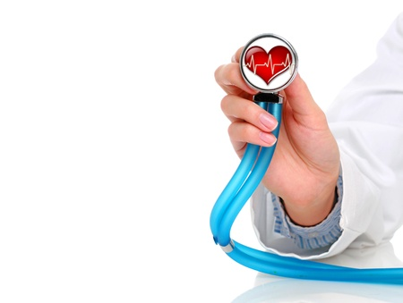 Health care concept. Stethoscope in female hand.