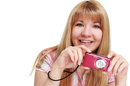 Happy photographer with camera. photo