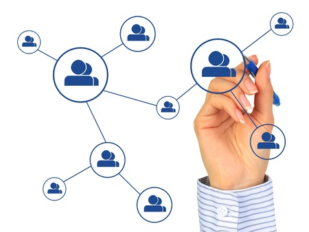 Hand drawing social network model. Isolated over white. Banque d'images