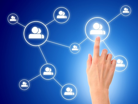 Hand and social network model. Over blue background.